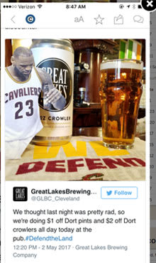 A tweet from Great Lakes Brewing trying to capitalize off LeBron holding their bottle.