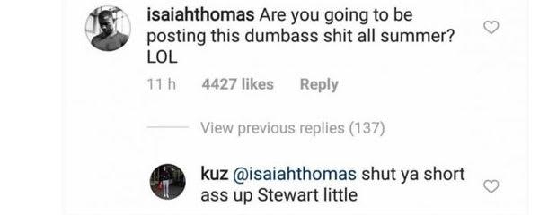 Isaiah Thomas and Kyle Kuzma exchange IG insults.