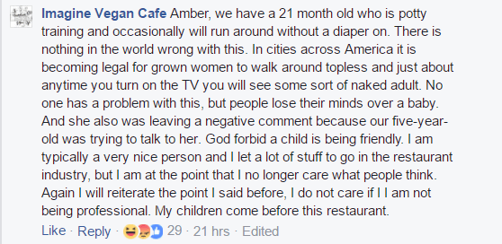 Imagine Vegan Cafe Facebook Post