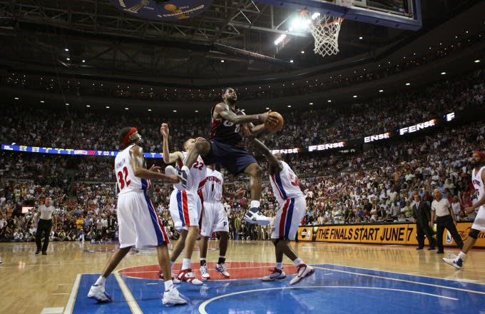 LeBron James takes on all five Pistons players during a 2007 playoff game.