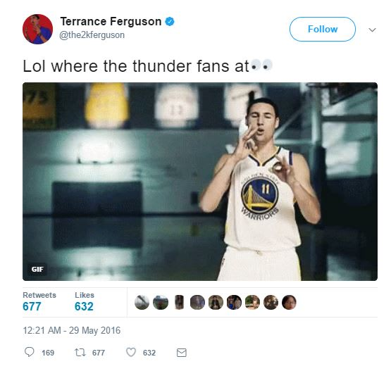 Terrance Ferguson tweet.