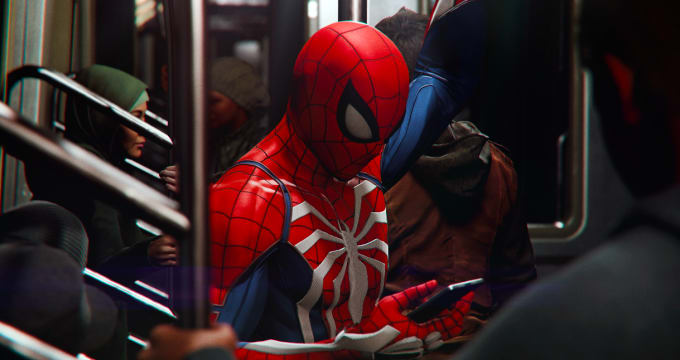 Spider-Man riding the subway in 'Marvel's Spider-Man'