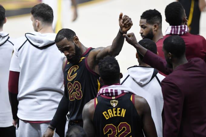 LeBron James Cavs Warriors Game 4 Bench NBA Finals 2018
