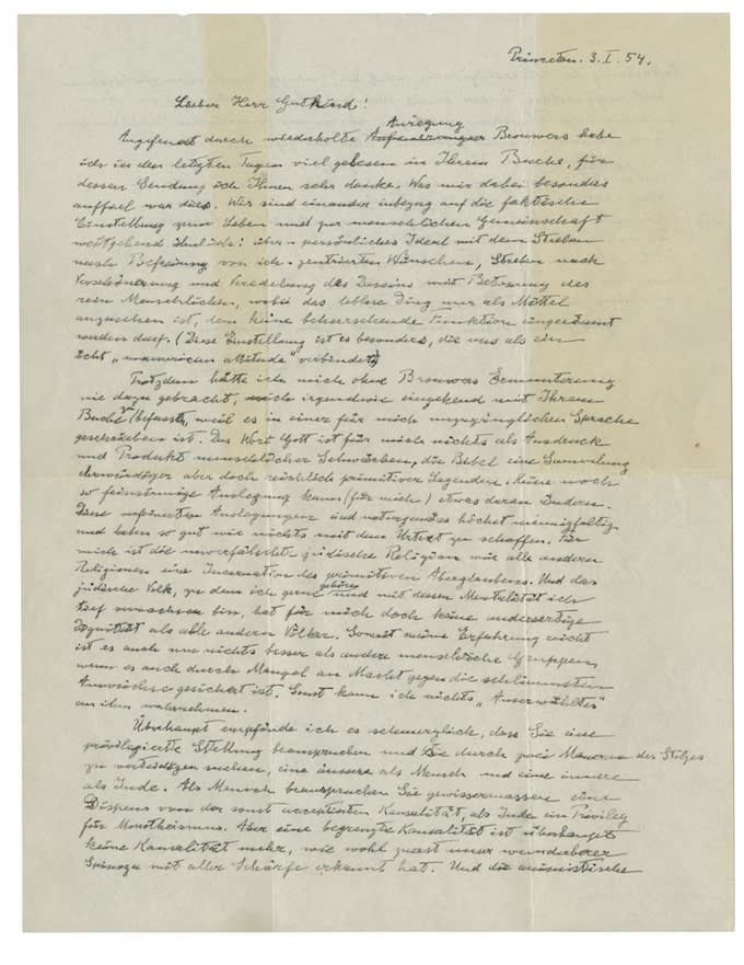 Einstein Letter Auction