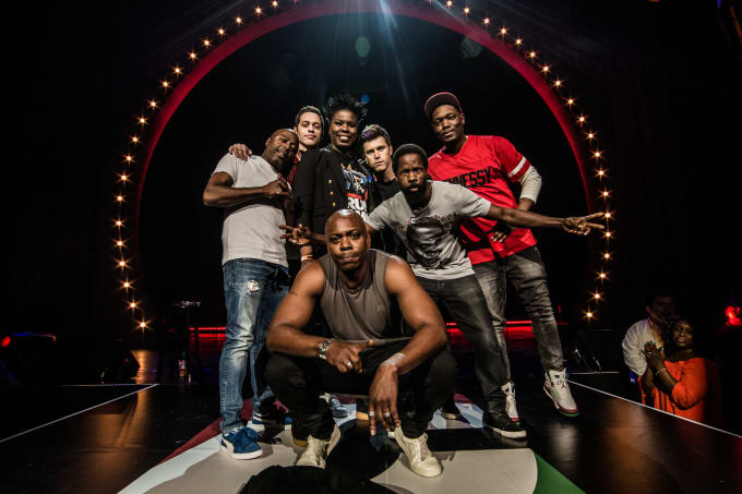 Donnell Rawlings, Pete Davidson, Leslie Jones, Colin Jost, Michael Che, and Dave Chappelle
