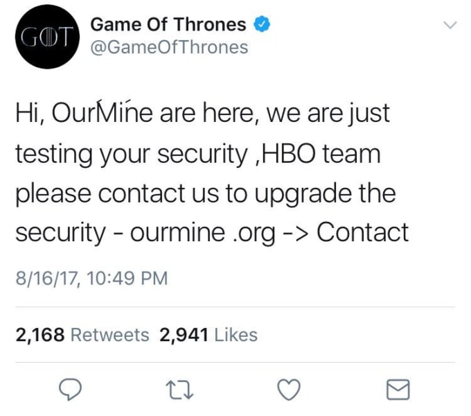 HBO Game of Thrones twitter hacked
