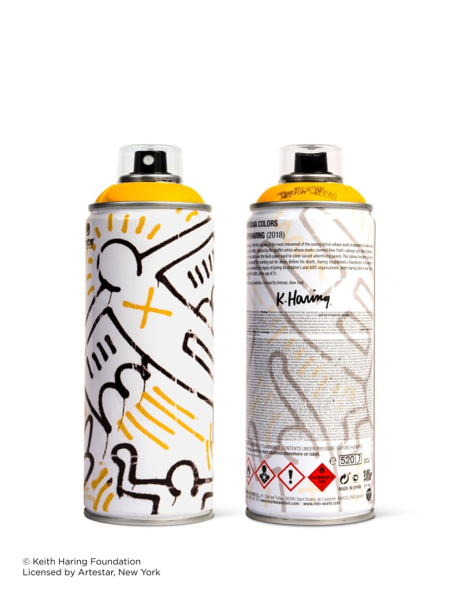 Yellow Keith Haring spray paint can for Beyond The Streets.
