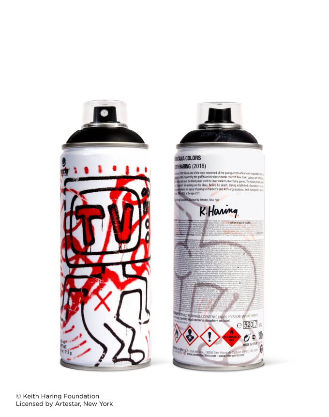 Black Keith Haring spray paint can for Beyond The Streets.