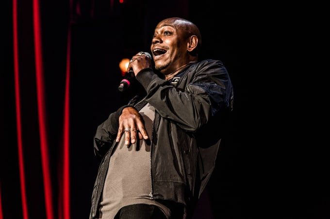 Dave Chappelle on stage at the historic Radio City Music Hall in Manhattan