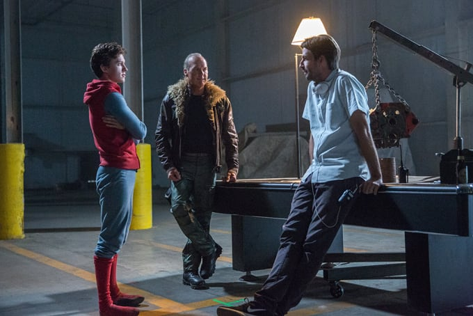 Tom Holland, Michael Keaton, and Jon Watts on the set of 'Spider-Man: Homecoming'