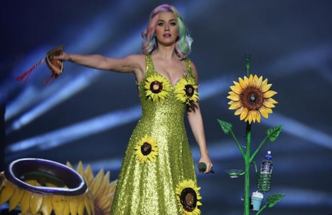 Katy Perry performing in a sunflower dress in Taiwan