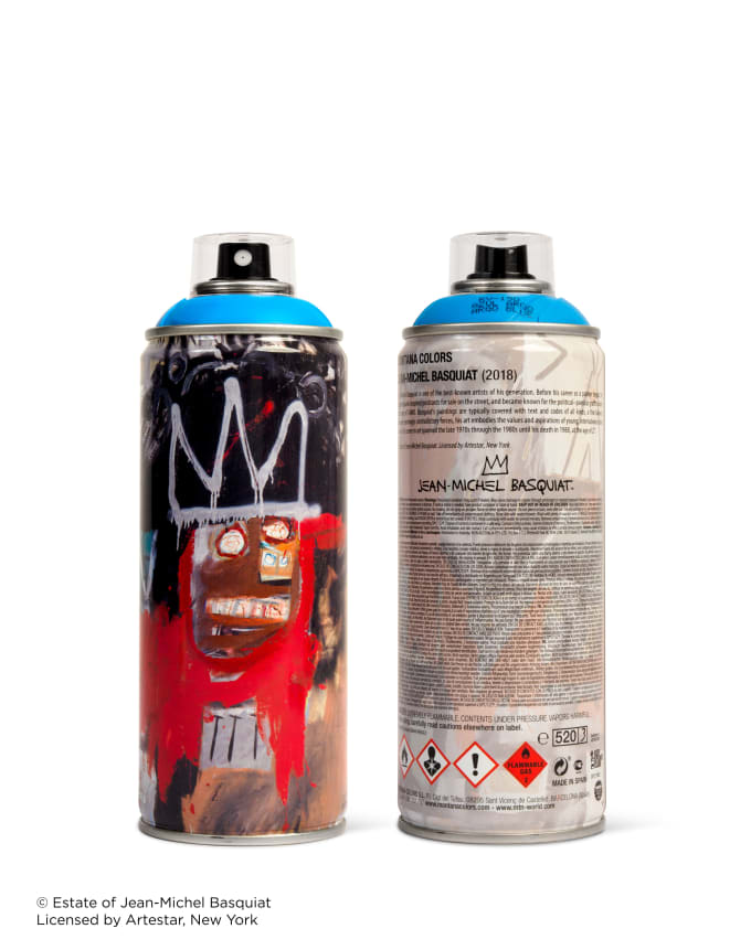 Red Jean-Michel Basquiat spray paint can for Beyond The Streets.