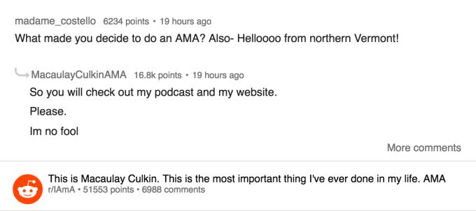 Macaulay Culkin Reddit AMA