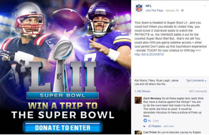 The NFL jumps the shark and pits the Patriots and Vikings against one another in the Super Bowl.