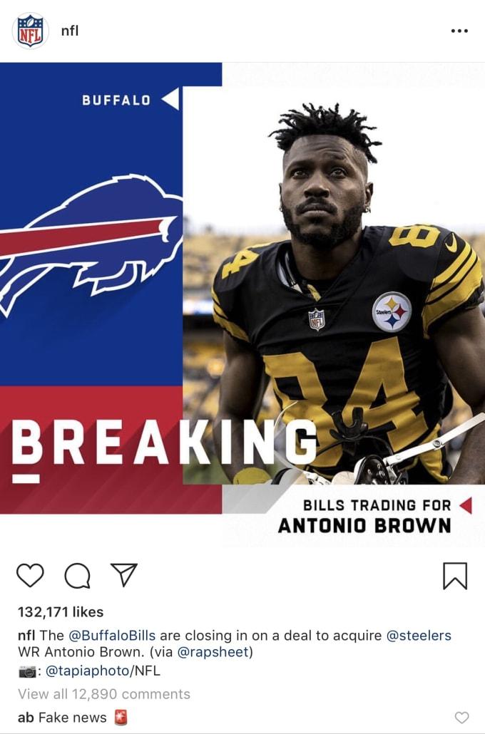 3e861c84 Antonio Brown Calls Steelers, Bills Trade Report 'Fake News' | Complex