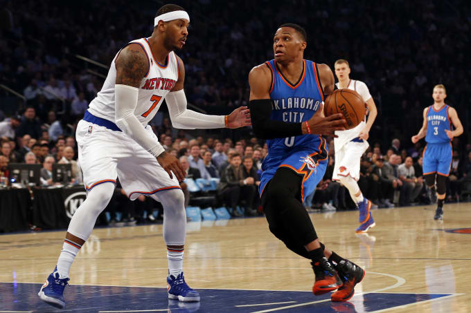 Carmelo Anthony Russell Westbrook MSG 2017