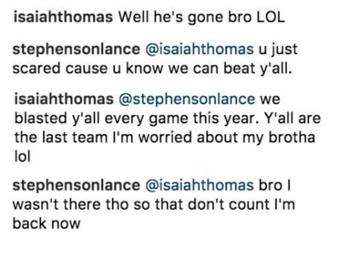 Isaiah Thomas and Lance Stephenson exchange words on Instagram.