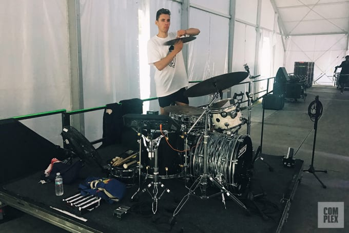 Alexander Sowinski, drummer for BADBADNOTGOOD, prepping for his Bonnaroo 2017 performance.