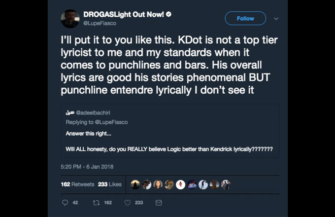 A Tweet from Lupe Fiasco