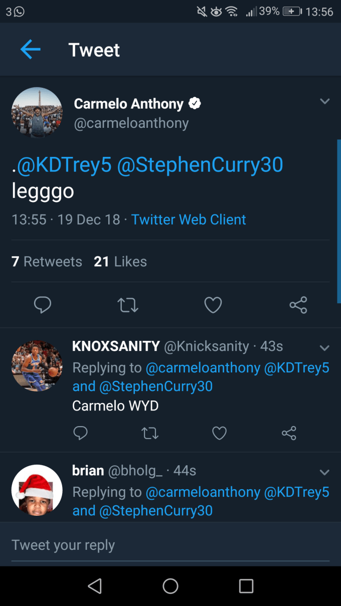 Is this Carmelo Anthony's deleted tweet?