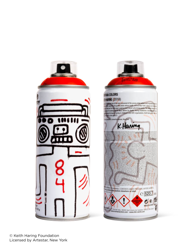 Red Keith Haring spray paint can for Beyond The Streets.