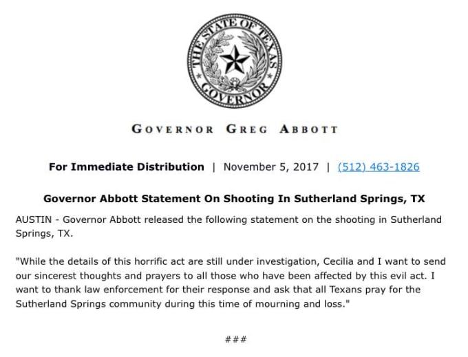 Greg Abbott Response