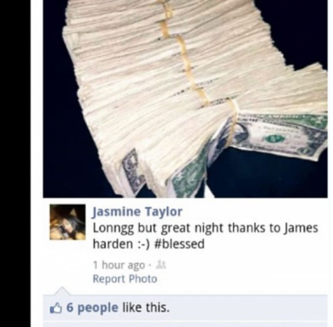 Jasmine Tayor's Facebook post about James Harden.