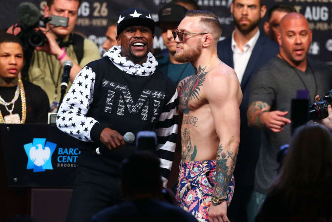 Floyd Mayweather Conor McGregor Barclays Center 2017 Getty
