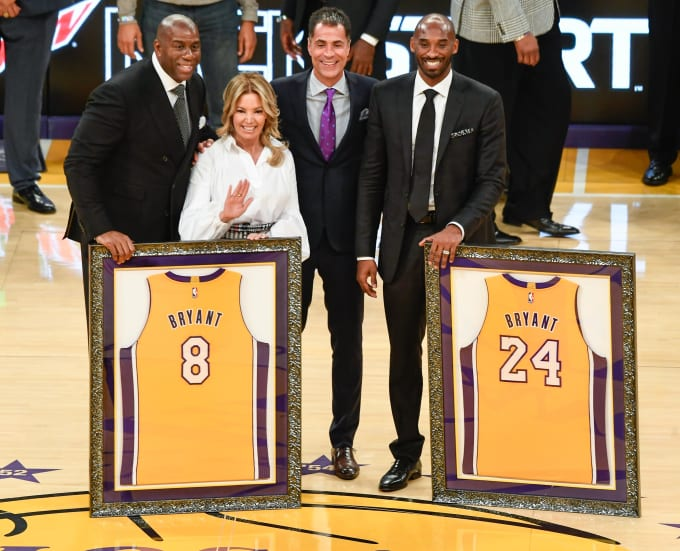 Kobe Bryant Jersey Retirement Magic Pelinka Buss 2017