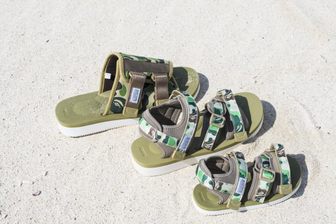 8eb41ae66a18 Suicoke Gets Dipped in Camouflage for Their New A Bathing Ape ...