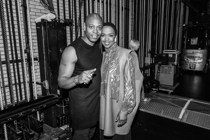 Dave Chappelle and Lauryn Hill backstage at Radio City Music Hall
