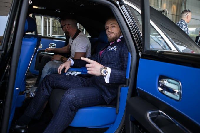 Conor McGregor onn tour promoting Floyd Mayweather fight