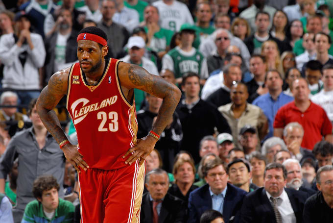 LeBron James plays against the Celtics in 2010.