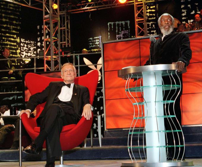 Dick Gregory speaks during Hugh Hefner's roast