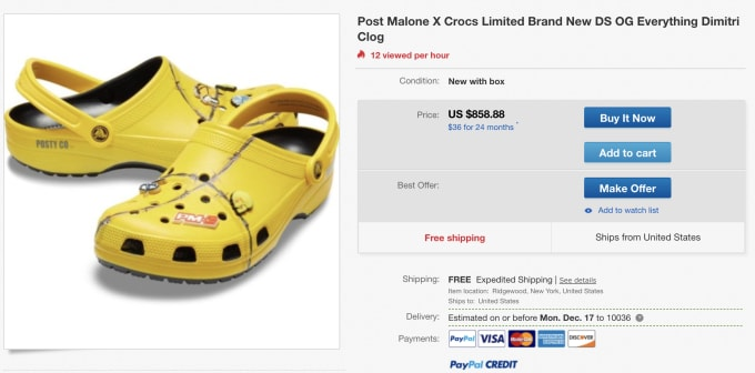 849c01468 Post Malone s Second Crocs Collab Is Already Reselling for Almost ...