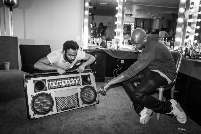 Dave Chappelle with multi-hyphenate artist Donald Glover backstage at Radio City Music Hall