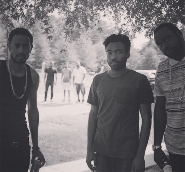 Stanfield, Glover, and Henry on set in Atlanta