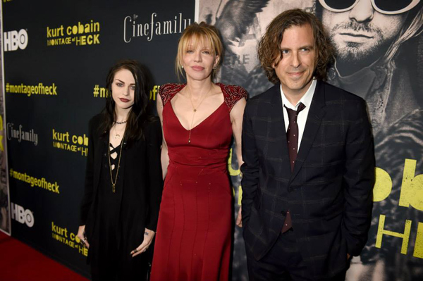 Director Brett Morgen with Frances Bean Cobain and Courtney Love (via Facebook