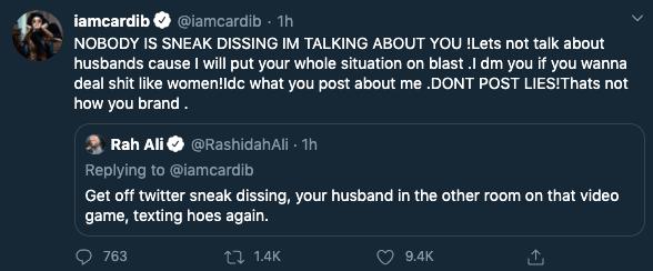 Cardi tweet
