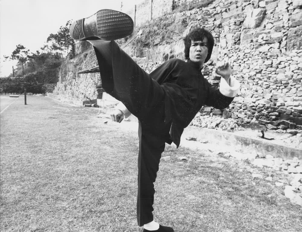 Actor Bruce Lee on the set of the movie 'Enter the Dragon', 1973.
