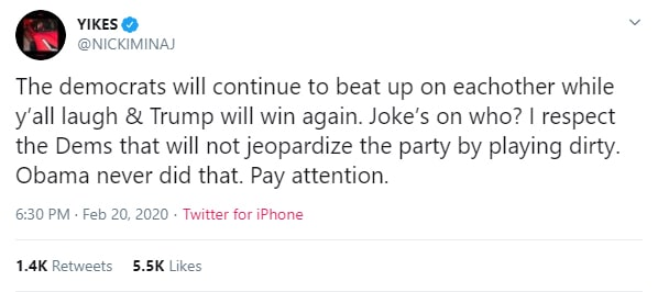 nicki democrat tweet