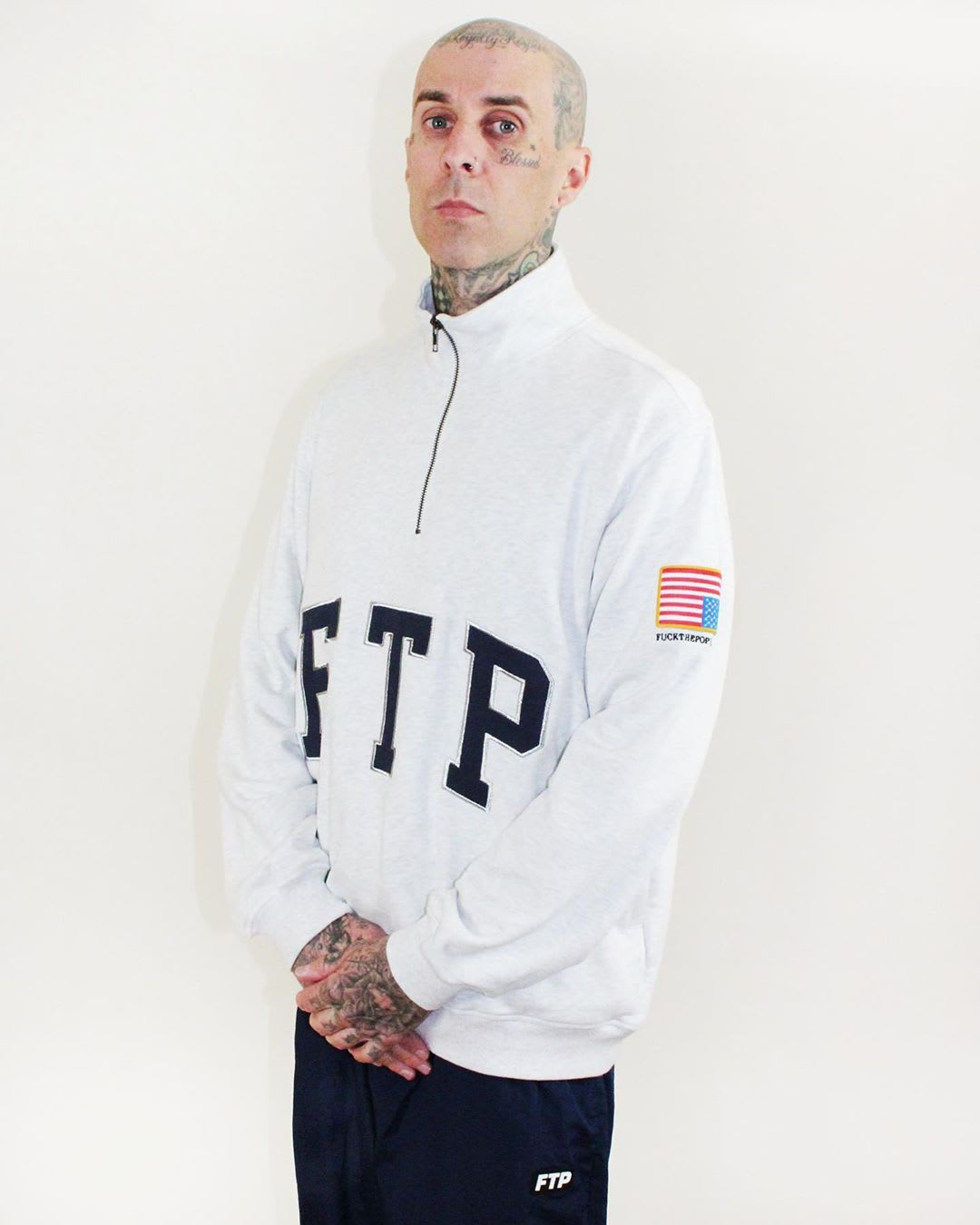 Travis Barker Wearing FTP Fall/Winter 2019 Quarter Zip