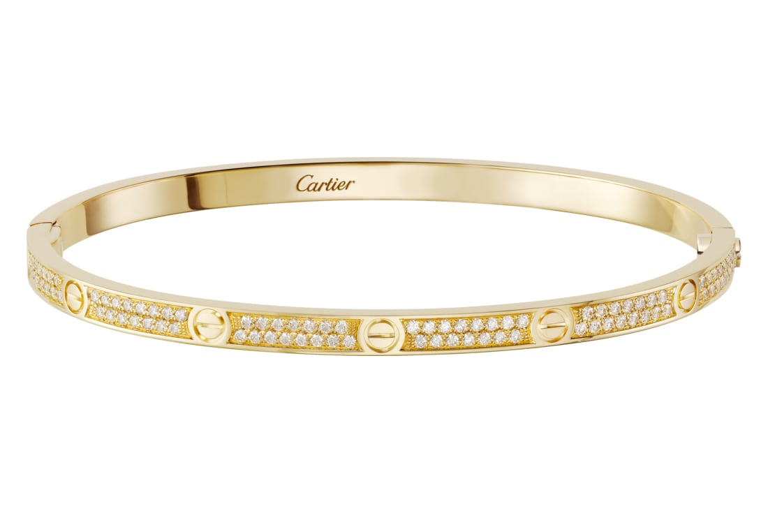 cartier love bracelet small model pave yellow gold