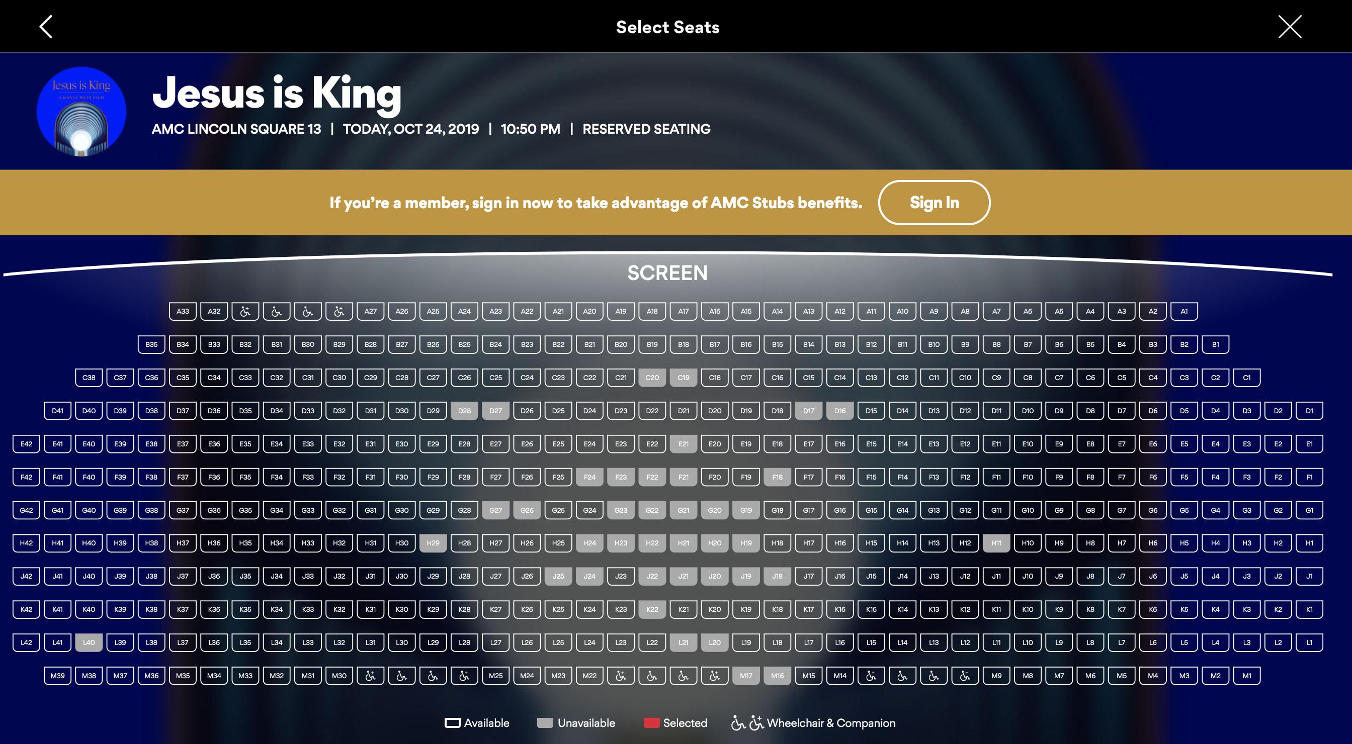Jesus Is King IMAX seat chart opening night
