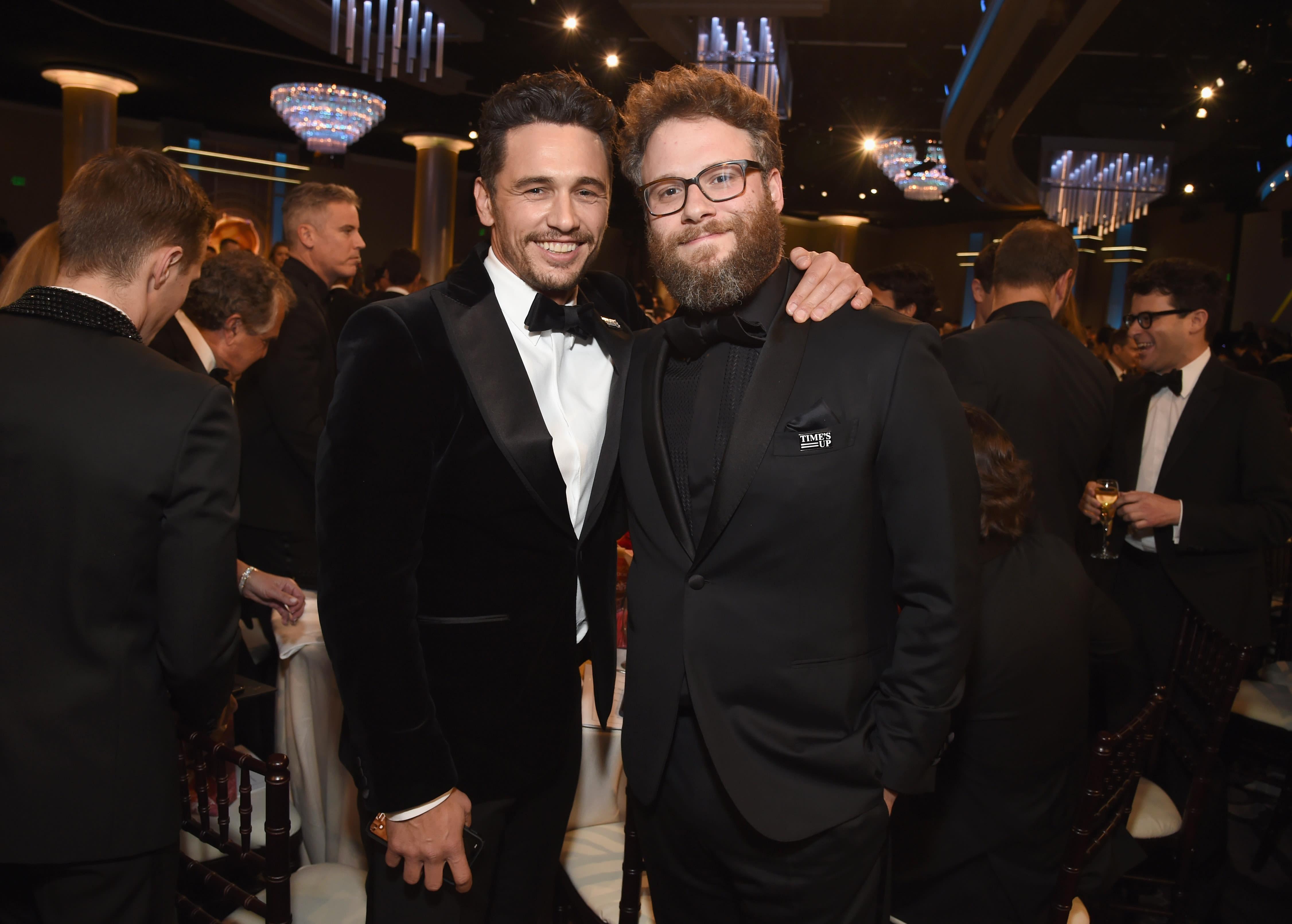 Seth Rogen and James Franco at the Golden Globes