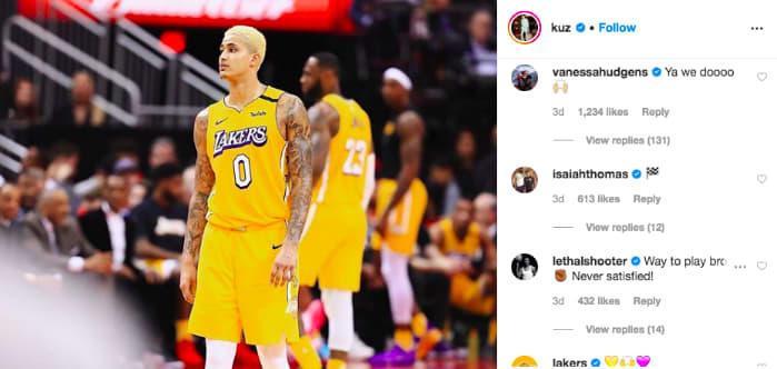 Vanessa Hudgens comments on Kyle Kuzma's Instagram picture