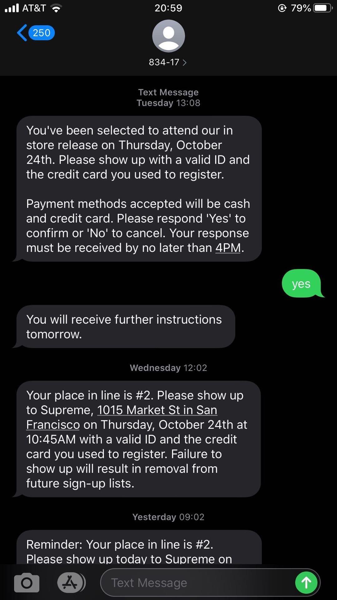 Supreme San Francisco Customer One Text Message Line Registration