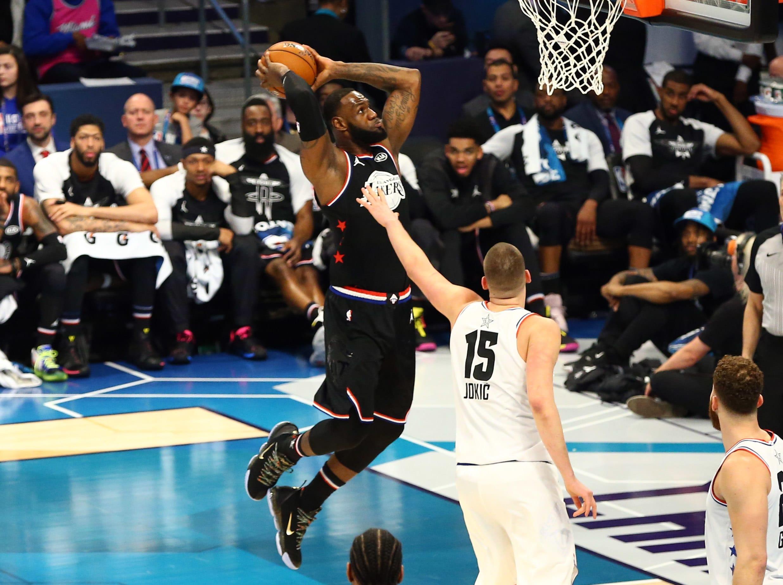 LeBron James Nikola Jokic Dunk All-Star Game 2019 Charlotte