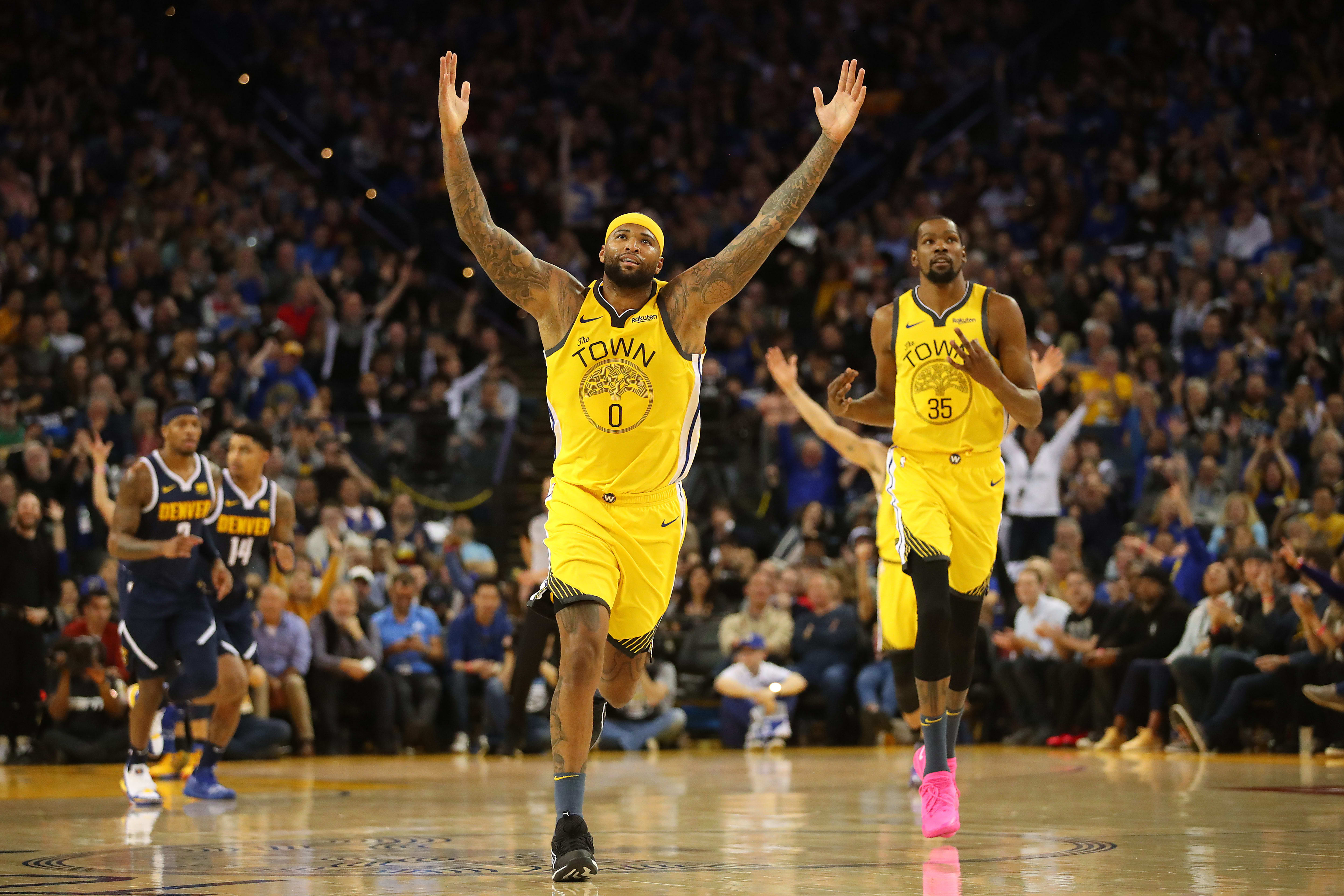 DeMarcus Cousins Kevin Durant Warriors Nuggets 2019