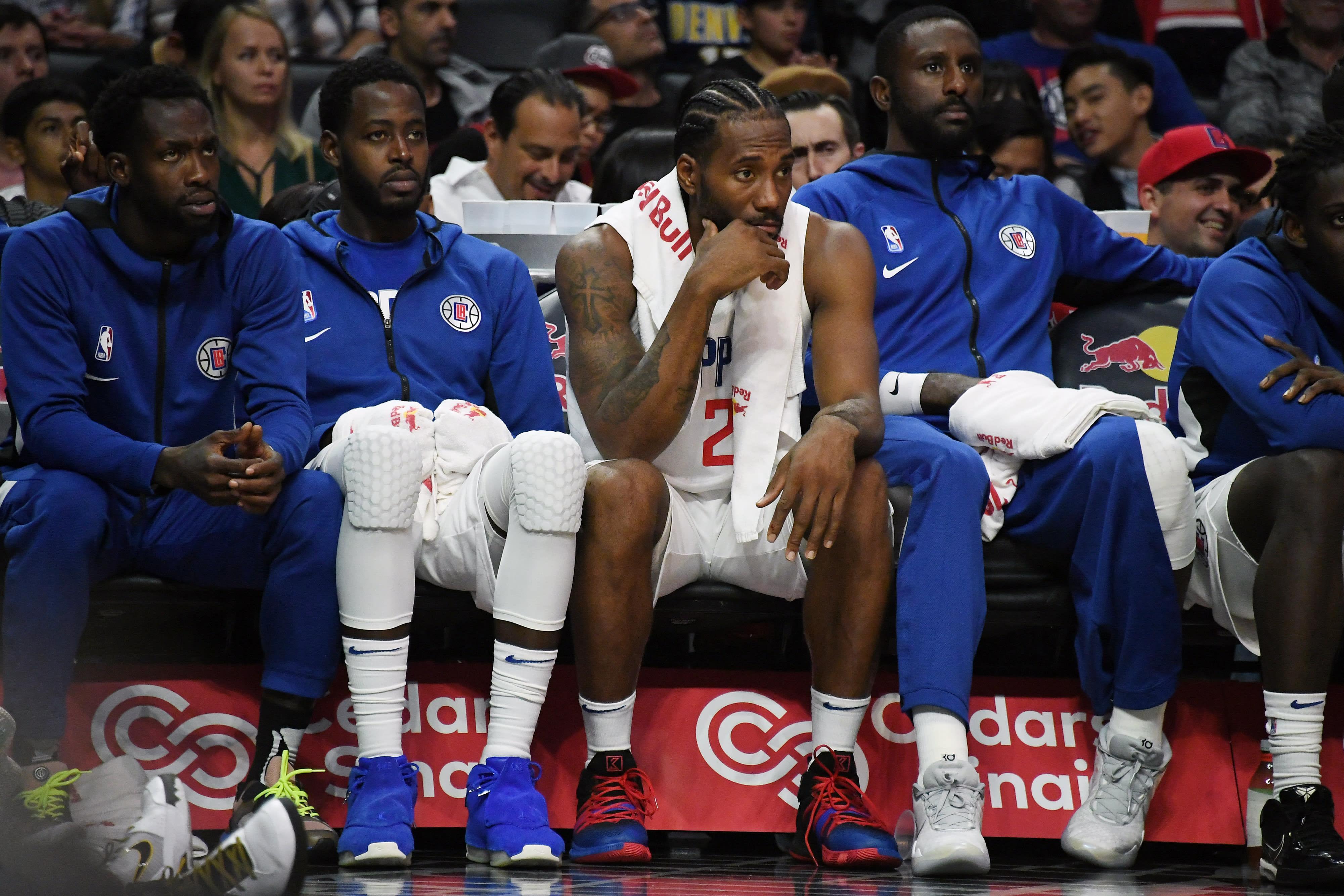 Kawhi Leonard Bench Clippers Preseason 2019